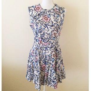 Vintage floral print floral high low dress